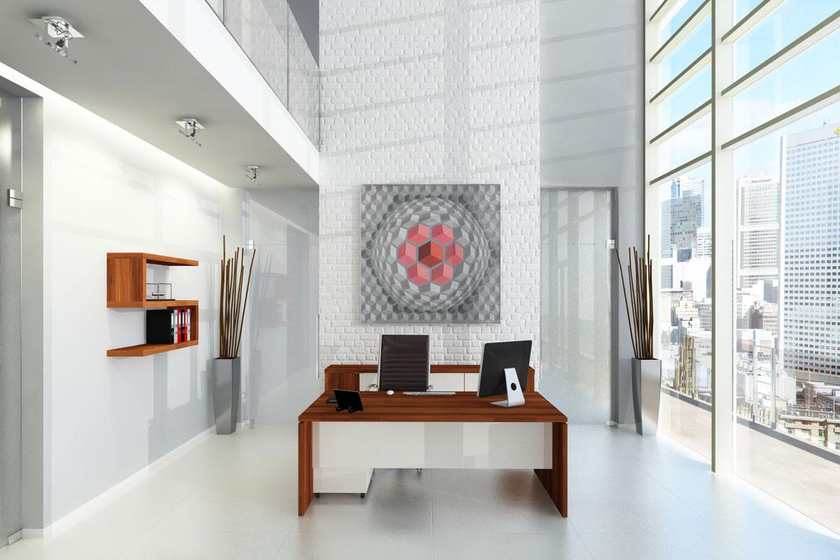Cube irodabútor, szilva - fehér.
