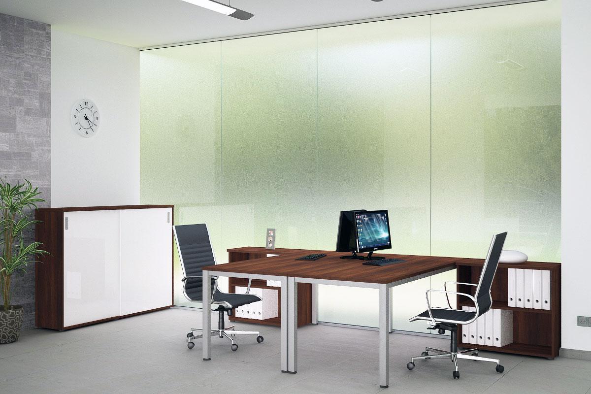 Frame irodabútor, szögletes láb, két fős, dió.