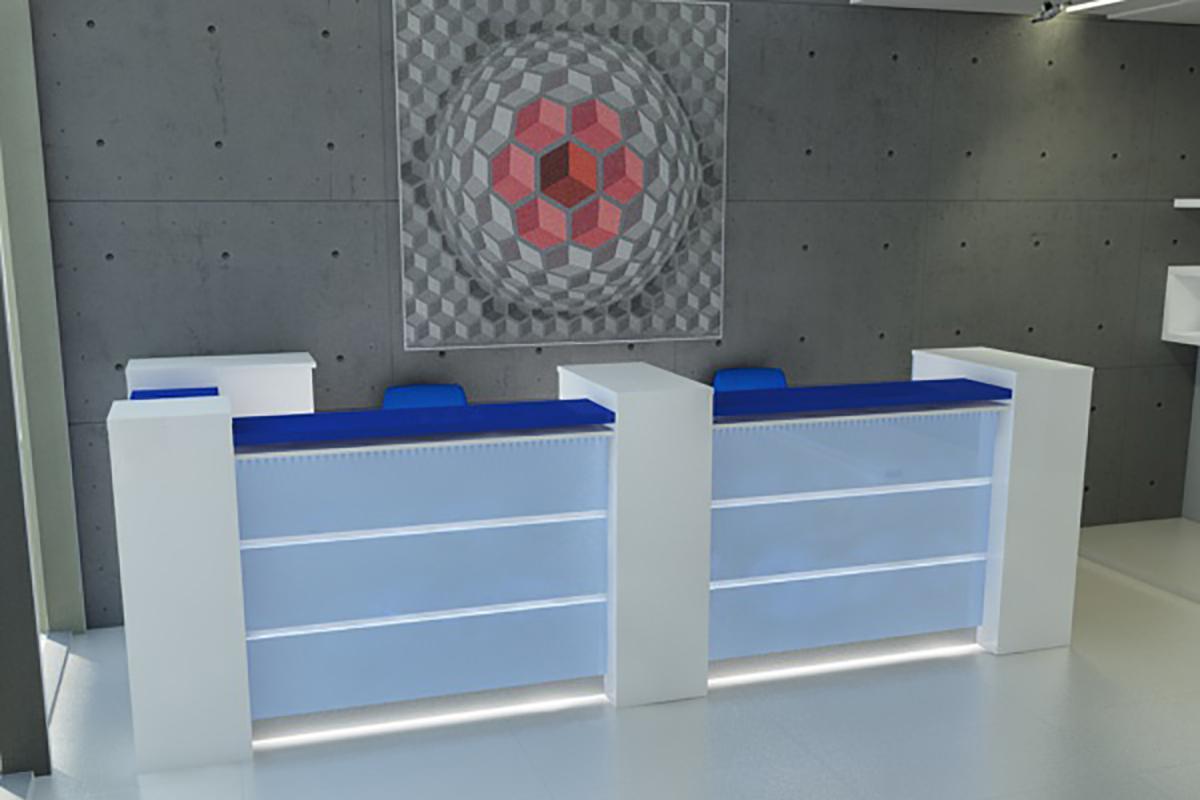 LED recepció, kék, elölről.