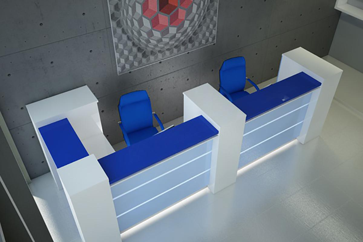 LED recepció, kék, felülről