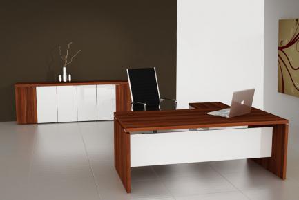 Cube irodabútor, kiegészítő szekrénnyel, szilva - fehér.